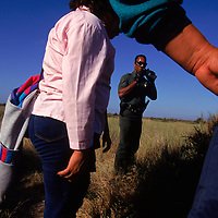 Illegal immigrants are caught by United States Border patrol agents in San Diego, California.