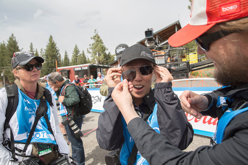 Photographer Kristy Morrow waits for the finish of stage five of the Amgen Tour of CaliforniaThursday, May 19, 2016 in South Lake Tahoe, Calif.