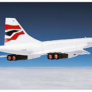 Concorde in flight with afterburner