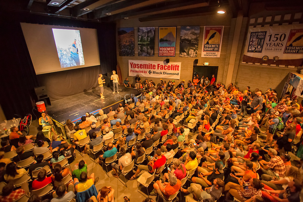 """Tommy Caldwell giving a presentation on the Dawn Wall ascent during the annual """"Face Lift"""" Clean Up event in Yosemite National Park"""