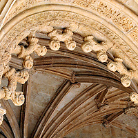 Europe, Portugal, Lisbon. Arch Detail at Jerónimos Monastery in the district of Belem, a UNESCO World Heritage site.