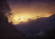 Sunrise in the Valmalenco/Lombardia/Italy - tinted &amp; textured photograph<br />
