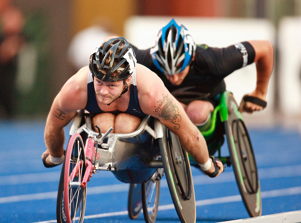 Toronto, Ontario ---10-07-29--- Josh Cassidy competes in the wheelchair 5000 metres at the 2010 Canadian Track and Field Championships in Toronto, Ontario July 29,  2010.<br />  GEOFF ROBINS/Mundo Sport Images