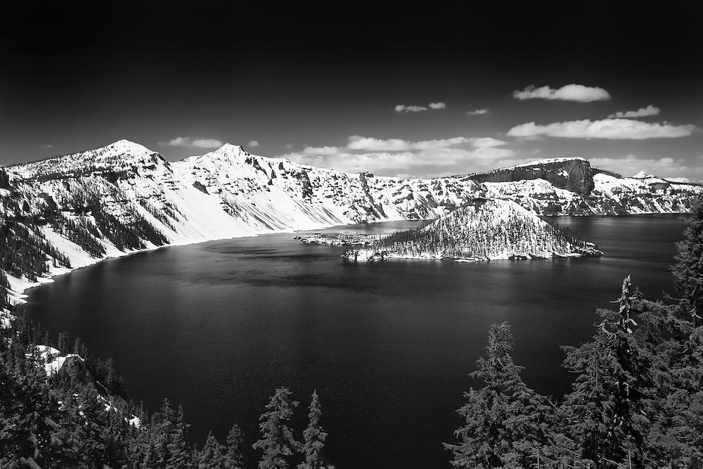 Wizard Island South Rim Edge View - Crater Lake - Black & White