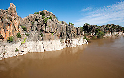Stunning rock formations beside the Fitzroy River as it winds through Geikie Gorge near Fitzroy Crossing.