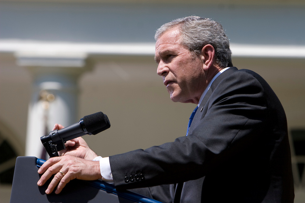 President George W. Bush holds a press conference in the Rose Garden at the White House on Thursday, May 24, 2007.