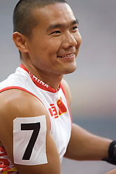 "Chinese athlete waits for the 4x100m T53-54 race start during the Beijing 2008 Paralympic Games at the National ""Bird's Nest"" Stadium on the 8th September 2008;"