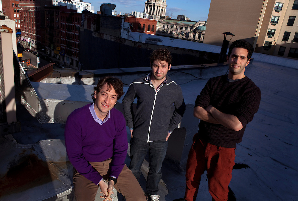 From left; Chief Operating Officer Oren Bass, Chief Technology Officer Justin Mitchell and CEO Sal Lahoud are the co-founders of Pave. Lahoud got the idea for Pave after a friend asked to borrow money. He was uncomfortable lending it to him and instead offered to invest in his friend. He approached Bass soon after about building the personal investment concept into a business...With the average student graduating with more than $26,000 in debt and unemployment for 18-29 year olds at 11.5%, Millennial are starting their adult lives from behind and struggling to catch up, let alone get ahead both professionally and financially. But at least one company aims to change that. Pave combines the idea of a business investment and mentorship in mutually beneficial social financial agreements. The company provides a platform for teams of backers,  older, more experienced professionals - to invest in prospects, 20 and 30-somethings starting their careers. In exchange, prospects agree to pay their backers a percentage of their annual income over 10 years.  ..Photo by Melanie Burford/Prime, Freelance.