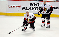 April 26, 2007; East Rutherford, NJ, USA; Ottawa Senators right wing Daniel Alfredsson (11) skates during the first period at Continental Airlines Arena in East Rutherford, NJ.