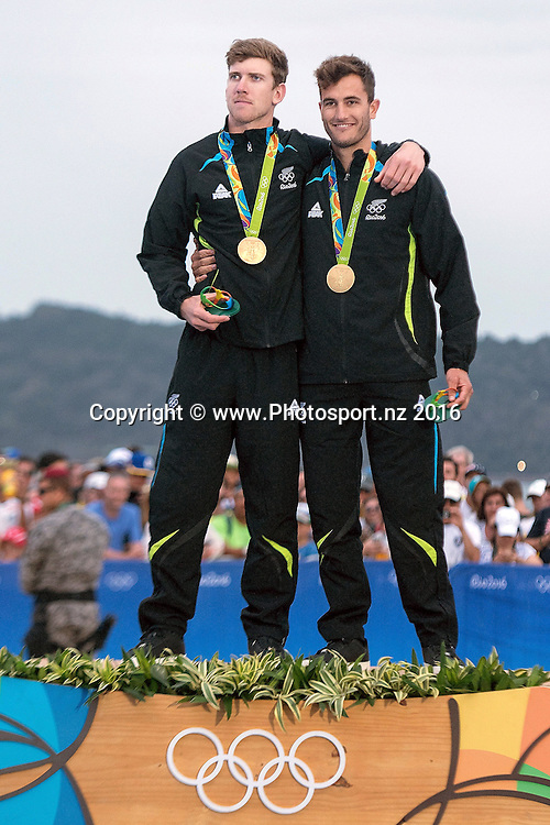 Peter Burling and Blair Tuke win gold for the 49er class sailing race the 2016 Rio Olympics on Thursday the 18th of August 2016. © Copyright Photo by Marty Melville / www.Photosport.nz