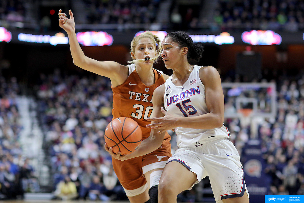 UNCASVILLE, CONNECTICUT- DECEMBER 4: Gabby Williams #15 of the Connecticut Huskies is defended by Khaleann Caron-Goudreau #30 of the Texas Longhorns during the UConn Huskies Vs Texas Longhorns, NCAA Women's Basketball game in the Jimmy V Classic on December 4th, 2016 at the Mohegan Sun Arena, Uncasville, Connecticut. (Photo by Tim Clayton/Corbis via Getty Images)