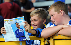 Bristol Rovers supporters studying the match day programme - Mandatory by-line: Paul Knight/JMP - Mobile: 07966 386802 - 12/09/2015 - FOOTBALL - Memorial Stadium - Bristol, England - Bristol Rovers v Accrington Stanley - Sky Bet League Two