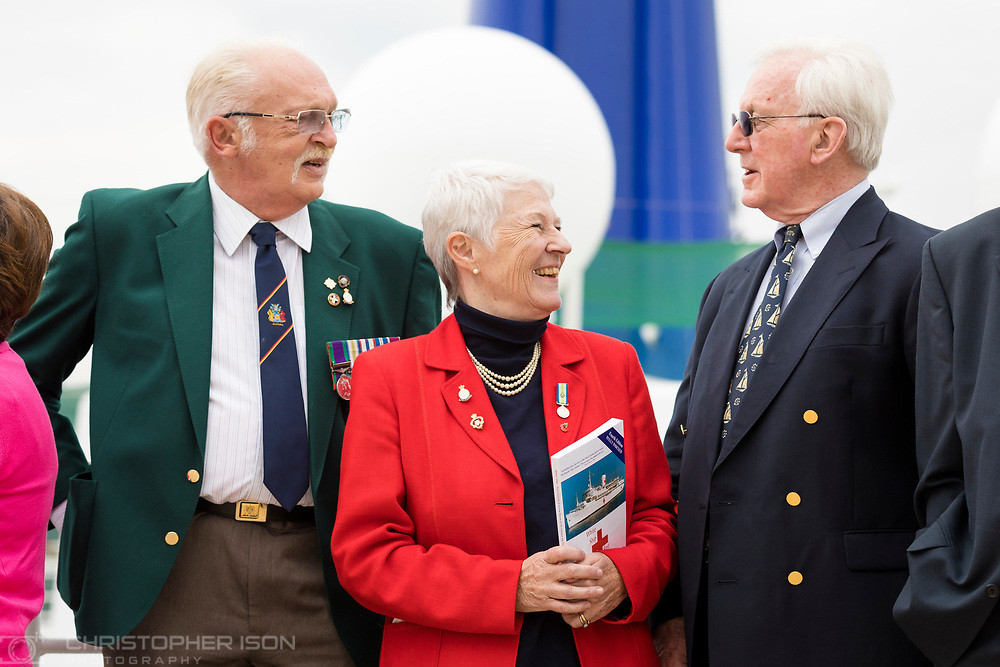 Members of the Falklands Hospital Ship Reunion Group gather onboard P&amp;O Cruises' Oriana in Southampton today, 35 years after the start of the conflict in the South Atlantic. Left to right: Robert &quot;Ossie&quot; Osborn, formerly of the 2nd Battalion Scots Guards, Nicci Pugh who was a Theatre Sister on the Hospital Ship Uganda and Captain Grahame Burton who was Chief Officer in charge onboard Uganda. Captain Burton was later appointed the Master of Oriana when she was being built and is a former Vice President of Princess Cruises. 50 former soldiers, sailors and nurses will spend the next four days cruising aboard Oriana to the Channel Islands.<br /> Picture date Thursday 11th May, 2017.<br /> Picture by Christopher Ison. Contact +447544 044177 chris@christopherison.com
