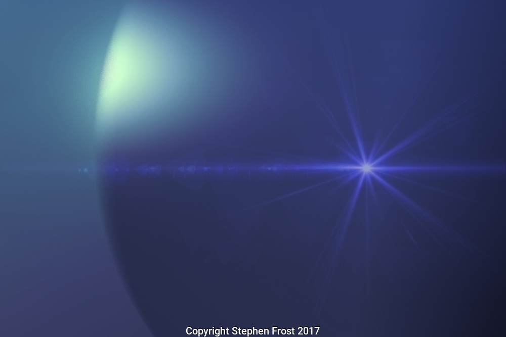 A computer generated image depicting a signal from an alien Neptune-like gas giant.