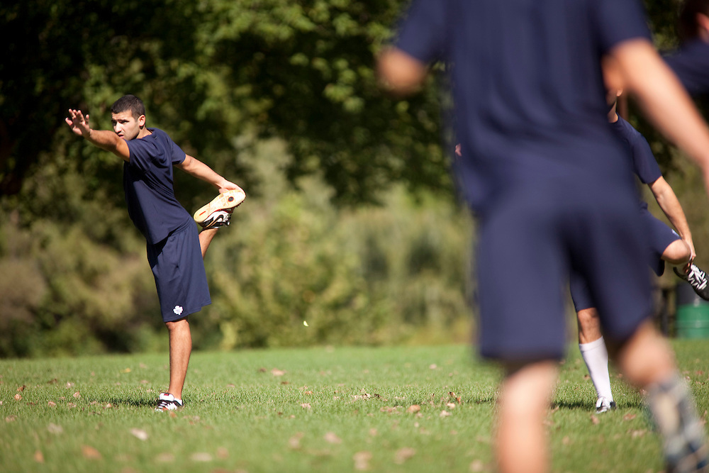 London, ONT.: September 13, 2010 --  Leafs rookie Nazem Kadri stretches with the rookie squad at Harris Park in London, Ontario, September 13, 2010 on the team's day off at the NHL rookie tournament. The Leafs take on the Ottawa Senators on Tuesday. <br /> (GEOFF ROBINS for National Post)