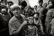 Professor Fred Hollows with Tran Van Giap in Hanoi in Vietnam 1992.