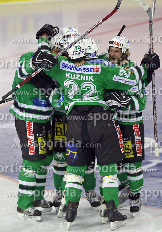 Yarema, Kuznik, Vnuk etc celebrate goal at sixth game of the Final of EBEL league (Erste Bank Eishockey Liga) between ZM Olimpija vs EC Red Bull Salzburg,  on March 25, 2008 in Arena Tivoli, Ljubljana, Slovenia. Red Bull Salzburg won the game 3:2 and series 4:2 and became the Champions of EBEL league 2007/2008.  (Photo by Vid Ponikvar / Sportal Images)