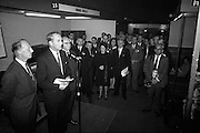 Irish Furniture Fair..1966..27.09.1966..09.27.1966..27th September 1966..Today saw the opening of the Irish Furniture Fair at the Intercontinental Hotel in Dublin. The fair is to promote the quality and value of furniture manufactured within Ireland...Image shows the Minister for Industry and Commerce, Mr George Colley TD, giving the speech to officially open the Irish Furniture Fair.
