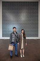 """NYU students Louie Chung with his friend Michie, in front of """"Strontium 2004"""" by Gerhard Richter at The DeYoung Museum, San Francisco, California"""