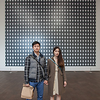 "NYU students Louie Chung with his friend Michie, in front of ""Strontium 2004"" by Gerhard Richter at The DeYoung Museum, San Francisco, California"