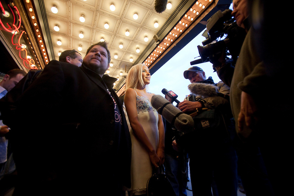 Kacey Jordan, a porn star who partied with Charlie Sheen is mobed by reporters as she arrives at the Fox Theatre in Detroit, Michigan April 2, 2011 for Charlie's show &quot;Violent Torpedo of Truth/Defeat is Not an Option&quot;.<br /> AFP/GEOFF ROBINS/STR