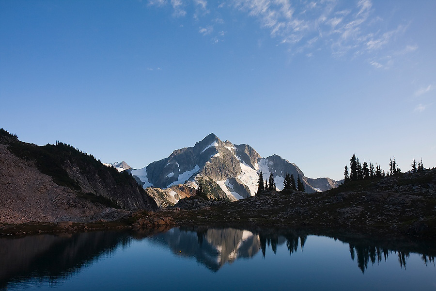 Whatcom Peak is reflected in Tapto Lakes, North Cascades National Park, Washington.