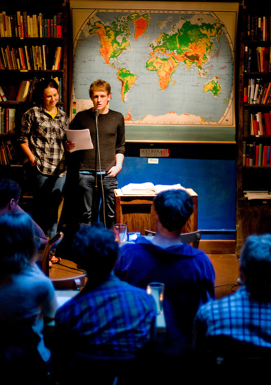 Writers Benjamin Kunkel and Rivka Galchen reading at the Pacific Standard Pub in Park Slope, Brooklyn