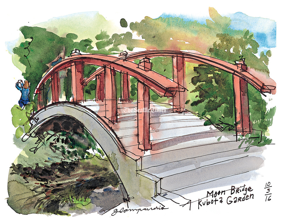"""The Moon Bridge invites a moment of reflection. According to the self-guided tour map it symbolizes the difficulty of living a good life. """"Hard to walk up and hard to walk down."""" (Gabriel Campanario / The Seattle Times)"""