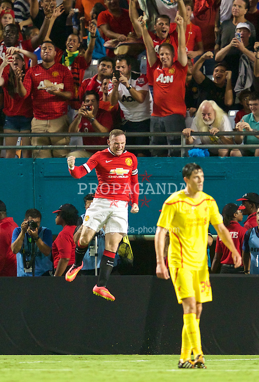 MIAMI, USA - Monday, August 4, 2014: Manchester United's Wayne Rooney celebrates scoring the first goal against Liverpool during the International Champions Cup Final match at the SunLife Stadium on day fifteen of the club's USA Tour. (Pic by David Rawcliffe/Propaganda)