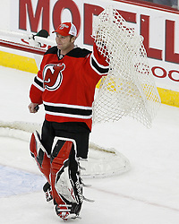 Mar 17, 2009; Newark, NJ, USA; during the third period at the Prudential Center. The Devils defeated the Blackhawks 3-2 and New Jersey Devils goalie Martin Brodeur (30) became the all-time winningest goalie in NHL history with his 552 win.