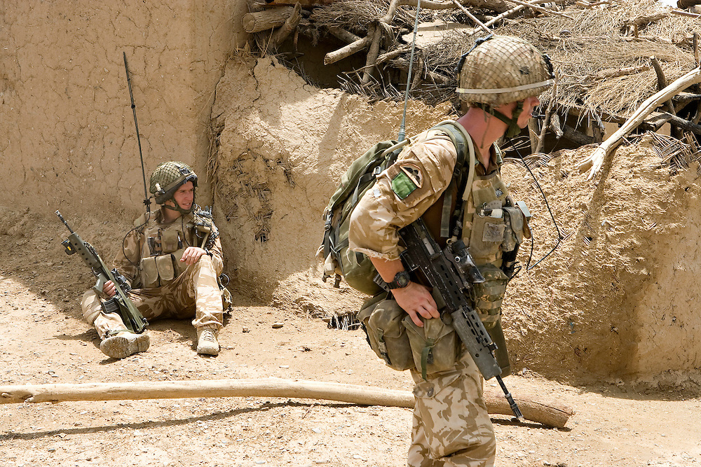British soldiers of 3rd Battalion The Parachute Regiment search compounds after being dropped by Chinook Ch-47 helicopters in an airborne assault as part of Operation 'Southern Beast'. Kandahar Province, Afghanistan on the 3rd of August 2008.