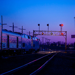 Amtrak's Southwest Chief departs Galesburg, IL for Los Angeles just after sunset on a winter evening.