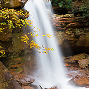 USA, West Virginia, Canaan Valley. Autumn colors surround Douglas Falls on the North Fork of the Blackwater River.