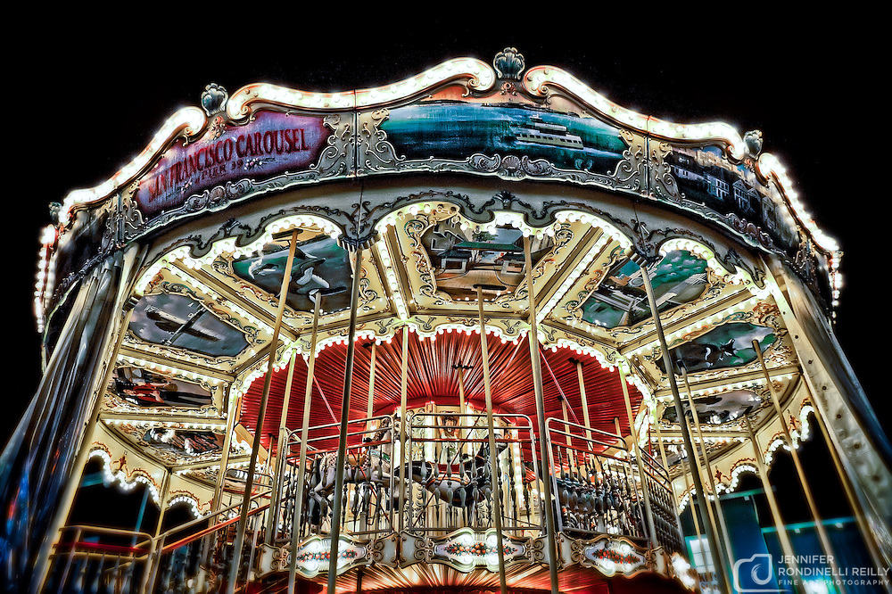San Francisco carousel at night on Pier 39 at Fisherman's Wharf. Photo by Jennifer Rondinelli Reilly.