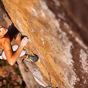 "Sasha DiGiulian climbing ""True Love"" 13d at ""The Gold Coast,"" Pendergrass Murray Recreational Preserve, Red River Gorge, Kentucky, USA."