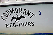 Cormorant eco-tours boat, crossing the Golfito Dulce, Osa Peninsula, southern Costa rica.