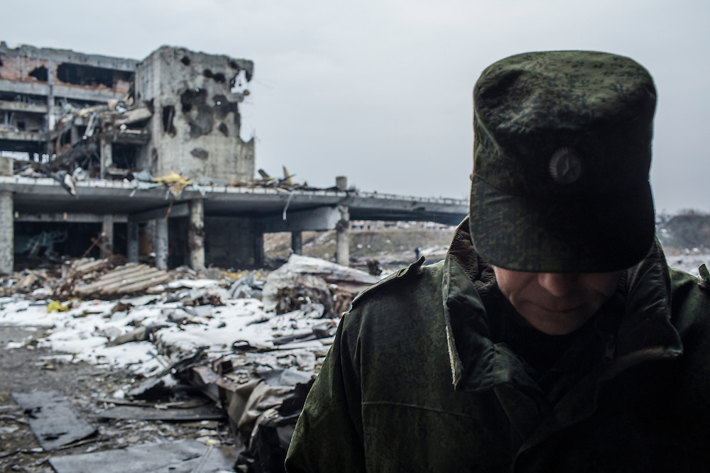 Eduard Basurin, the deputy defense minister of the Donetsk People's Republic, at the ruins of the Donetsk Airport on Tuesday, March 22, 2016 in Donetsk, Ukraine.