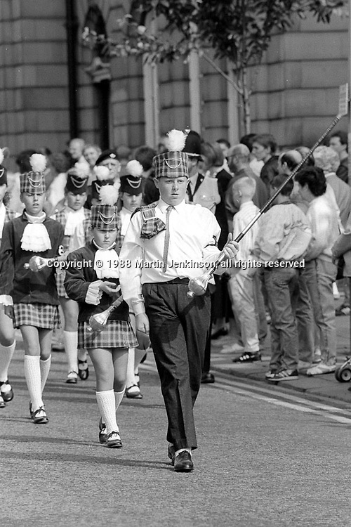 Majorettes. 1988 Yorkshire Miner's Gala. Wakefield.