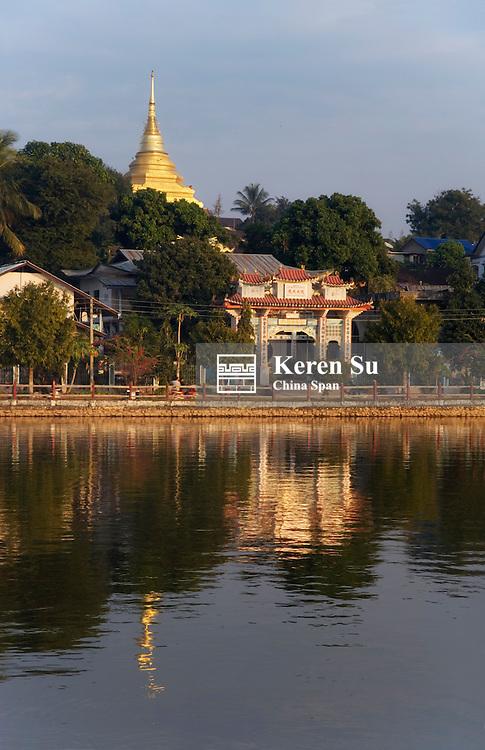 Temples and buildings along Nwang Tung Lake, Kengtung, Myanmar