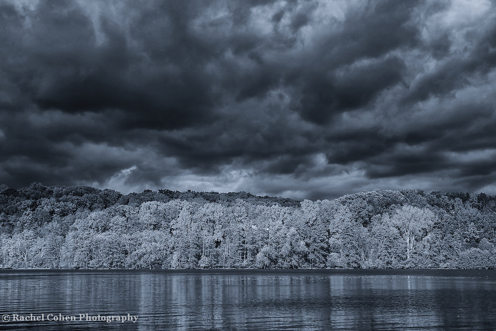 &quot;Every Cloud Has a Silver Lining&quot; monochrome<br /> <br /> Dramatic skies over water on a stormy fall day! A beautiful black and white landscape!