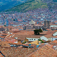 """View of the Peruvian city of Cusco the former capital of the Incan empire and """"unesco"""" world heritage site"""