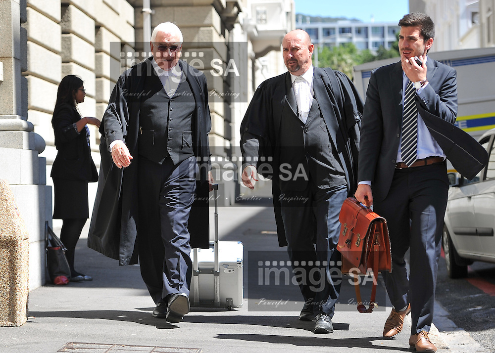 CAPE TOWN, SOUTH AFRICA - Monday 13 October 2014, Advocate Francois van Zyl SC, defence counsel for Shrien Dewani, during Day 4 of the Shrien Dewani trial at the Cape High Court before Judge Jeanette Traverso. Dewani is caused of hiring hit men to murder his wife, Anni. Anni Ninna Dewani (n&eacute;e Hindocha; 12 March 1982 &ndash; 13 November 2010) was a Swedish woman who, while on her honeymoon in South Africa, was kidnapped and then murdered in Gugulethu township near Cape Town on 13 November 2010 (wikipedia).<br /> Photo by Roger Sedres