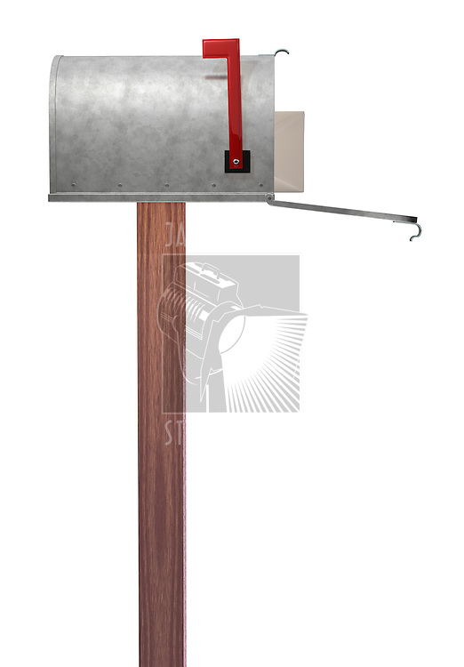 A standard galvanized mailbox on post showing side profile, with mail and flag up over white.