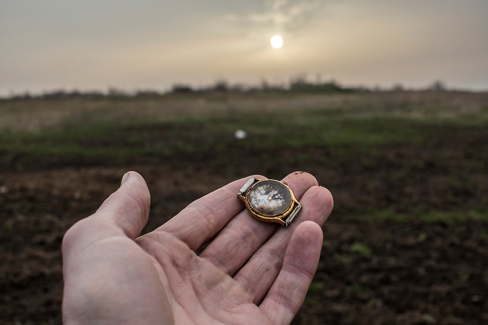 A wrist watch found at the scene of the crash of flight MH17 on Thursday, March 24, 2016 in Grabovo, Ukraine.