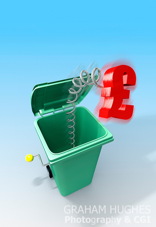 Green wheelie bin with red pound symbol shooting out on end of spring like a jack in the box. Blue graduated background.