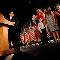 CORAL GABLES, FL -- November 2, 2010 -- Republican Senate candidate Marco Rubio celebrates his victory at The Biltmore Hotel in the Coral Gables area of Miami, Fla., on the Mid-Term Election Day on Tuesday, November 2, 2010.  Rubio won the three-way race for the seat over Independent Gov. Charlie Crist and Democrat Kendrick Meek.