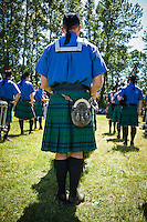Scottish bagpipe and drum groups at the Scottish Highland Games in Ferndale, WA, USA.