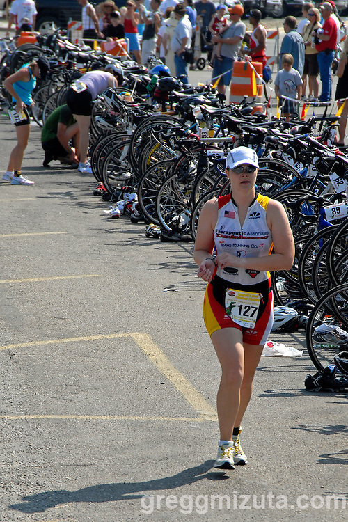 Tegan Brown leaves T2 during Emmett's Most Excellent Triathlon on August 7, 2010.<br /> <br /> Brown finished the Olympic distance triathlon (1.5k swim, 40k bike and 10k run) in 3:11:45 to finish fifth in the women's 30-34 age group.