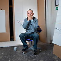 UK. London. Tibetan artist Gonkar Gyatso in his studio in Bethnal Green, East London..Photos ©Steve Forrest