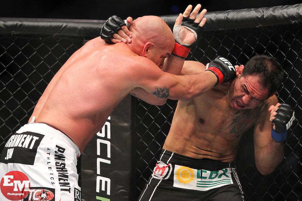 Toronto, Ontario, Canada - December 10, 2011: Tito Ortiz (white trunks) and Antonio Rogerio Nogueira (black trunks) during UFC 140 at the Air Canada Centre in Toronto, Canada.